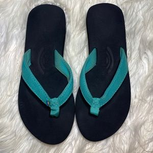 Rainbow Turquoise blue flip flop thong sandals 5